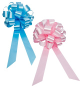 Baby Gender Reveal Party Decorative Ribbons in Blue and Pink - 20cm Wide, Set of 6 Pull Bows