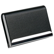 TRIXES Smart Black PU Leather and Stainless Steel Business Card Holder