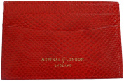 Aspinal of London Red Lizard Print Leather Slim Card Holder - Gift Boxed