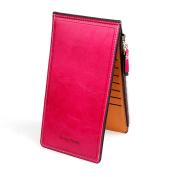 YJWAN Women Genuine Leather Zipper Wallet Large Capacity Card Case Purse