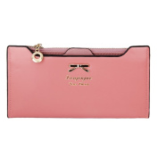 Women's Long Polyurethane Leather Wallet with Bow Knot and Card Slots pink roses
