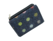 Mala Leather ABERTWEED Collection Compact Leather & Tweed Purse 3123_40 Navy Spot