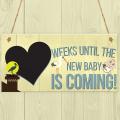Red Ocean Countdown Chalkboard Weeks Until Baby Hanging Sign Baby Shower Pregnancy Gift