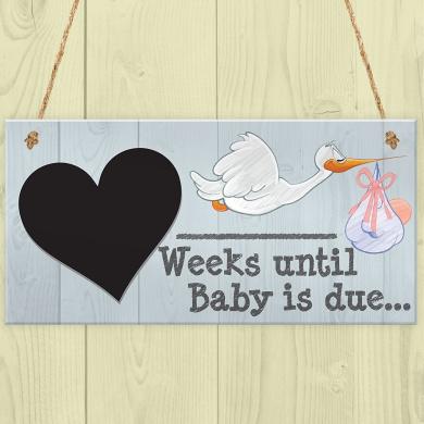 Red Ocean Weeks Until Baby Is Due Chalkboard Hanging Plaque Baby Shower Pregnancy Gift