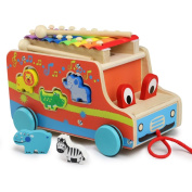 Wooden Animal Shape Sorter Bus Multifunctional Pull Bus with Xylophone Early Education Toy for Toddler  .