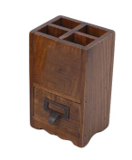 Multi - Functional Sub - Grid Wooden Pen Holder With Drawer Office Home Desk Storage Box