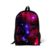 ThiKin Galaxy Print Stylish Felt Polyester Black Double zipped Casual Daypacks, Laptop Backpack, Bookbags, Casual Bag, School Backpacks -- for Students, College, Travelling, Weekend Trip, Hiking