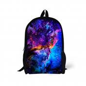 ThiKin Interstellar Print Stylish Felt Polyester Black Double zipped Casual Daypacks, Laptop Backpack, Bookbags, Casual Bag, School Backpacks -- for Students, College, Travelling, Weekend Trip, Hiking