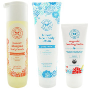 The Honest Company Apricot Kiss - Shampoo + Body Wash (300ml) & Unscented Face + Body Lotion (250ml) + Healing Balm