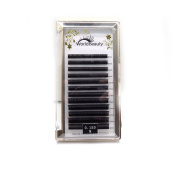 Individual Eyelash Extension Black Ellipse Flat Eyelash Extension 0.15mm thickness D curl 8MM to 14MM Mix 1Tray