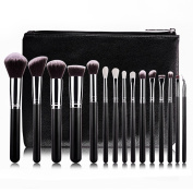 BestFire 15pcs Makeup Brushes Set Professional Goat Hair Make Up Brushes Cosmetics Foundation Blending Blush Eye Shadow Eyeliner Brushes Kit with PU Leather Case