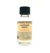 Lavender Amber Perfume Oil for Perfume Making, Personal Body Oil, Soap, Candle Making & Incense; Splash-On Clear Glass Bottle. Premium Quality Undiluted & Alcohol Free