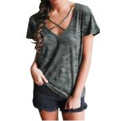 Hot Women Shirt! AMA(TM) Women Sexy Camouflage V Neck Short Sleeve Tank Tops Blouse T-Shirt