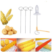 Potato Spiral Cutter,Fheaven Stainless Steel Tornado Potato Spiral Cutter Slicer Chips 4 Spits Tower Making Twist Shredder