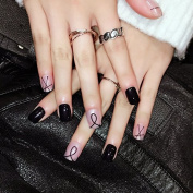 Simple Line Acrylic Nail Tips Black Clear Pre-designed Nails Lady Daily Wear Manicure Accessories 24pcs Z354
