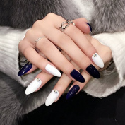Point Design Fale Nail Tips Black White Shiny Acrylic Press On Nails Medium Manicure Accessories 24pcs Z353