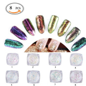 OR Pure Chameleon Mirror Nail Glitter Shinning Paillette Sparkly Nail Glitter Powders Galaxy Super Thin Sequins Powders Manicure Nail Art Decoration