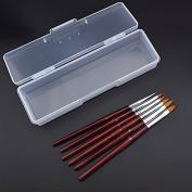 (5pcs Brush+1pc Box)/Set Kolinsky Sable Acrylic Nail Art Brush No. 2/4/6/8/10 UV Gel Builder Carving Drawing Design Pen Brushes