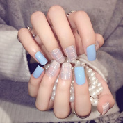 24pcs/kit Classical Grid Fake Nails Sky Blue Pink Square Top Artificial Lady Nail Tips Manicure Accessories Easy DIY Z347