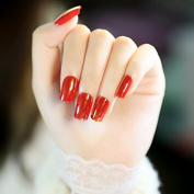 24pcs/kit Holo Mirror Surface Fake Nails Sexy Cool Red Square Top Artificial Lady Nail Tips Manicure Accessories Easy DIY Z346