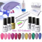 Gel Polish Kit, Pick Any 12 Colours UV LED Gel Nail Polish Neon Colourful Bling Varnish UV Lamp Top Base Coat Cleaner Plus Nail Art Tools Solon Set Belen