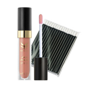 Yoyorule 50pcs Disposable Black Bar Lip Brush + Matte Lip Gloss Makeup Combination