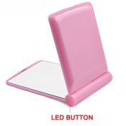 Topro 8 LED Light Foldable Double-sided Compact Cosmetic Pocket Mirror Colour Pink