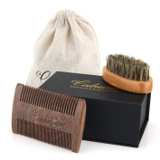 Codream Beard Brush & Beard Comb Kit - Natural Boar Bristles Bamboo Beard Brush and Thick & Fine Teeth Handmade Sandal Wood Comb Perfect for Men Beard & Moustache, With Gift Box and Carrying Bag