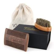 Codream Beard Brush & Beard Comb Kit - Natural Boar Bristles Bamboo Beard Brush and Thick & Fine Teeth Handmade Sandal Wood Comb Perfect for Men Beard & Moustache, With Gift Box and Carrying Bag