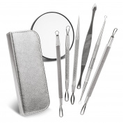 Brilliant Beauty Blemish Remover Kit with Leather Case & Magnifying Mirror - Dermatologist Treatment for Acne, Pimple, Comedone, Blackhead & Whitehead Removal - Includes 6 Extractor Tools