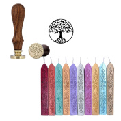 Yoption 10 Pcs Totem Fire Manuscript Sealing Wax Sticks with Wicks and Romantic Seal Stamp for Postage Letter(Tree of Life)