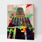 MADE4U [ Building series ] [ 50cm ] [ Wood Framed ] Paint By Numbers Kit with Brushes and Paints ( Empire State Building ) QS015