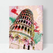 MADE4U [ Building series ] [ 50cm ] [ Wood Framed ] Paint By Numbers Kit with Brushes and Paints ( Leaning Tower of Pisa ) QS012
