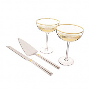Personalised Gold Coupe Flutes & Cake Serving Set