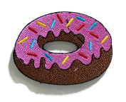 Doughnut Pink Strawberry Donut DIY Embroidered Sew Iron on Patch