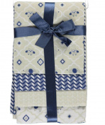 """Cribmates Baby Boys' """"Happy Owl"""" 4-Pack Receiving Blankets - navy/white, one"""