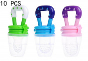 Cute Baby Infant Food Fruits Soft Bite Nipple Feeder Pacifier Feeding Tool and Extra Silicon Teat 10Pcs(Colour Randomly)