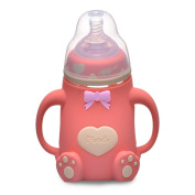 QiMiaoBaBy Borosilicate Glass Baby Bottle Bundle Set Cup Spouts Best Feeding For Newborns, Infants, and Toddlers