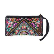 BESTOYARD Retro Ethnic Purse Pouch Phone Bag Wallet Embroidered Wristlet Wallet