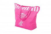 Beach Bag Womens Canvas Summer Tote Shoulder Bags Shopper for Girls ladies features deckchair and parasol