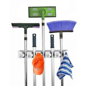 Home- It Mop And Broom Holder, 5 Position With 6 Hooks Garage Storage Holds Up