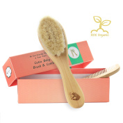 Pomperfect Organic Soft Goat Hair Newborn Baby Brush | Natural Eco-friendly Wood