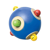 Wonderworld Peek-a-boo Ball Blue Interactive Wooden Baby Toy - Small For Little