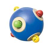 Wonderworld Peek-a-boo Ball Blue Interactive Wooden Baby Toy - Small For Little