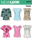 New Look Sewing Pattern 6808 Misses Tops, Size A (8-10-12-14-16