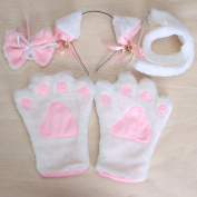 White Cat Cosplay Neko Anime Costume Lolita Gothic Set Paw Ear Tail Bell X'max E