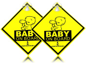 """Inspiration """"baby On Board"""" With Suction Discs Sign, 2-pack 5x5 2pcs"""