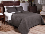 Chezmoi Collection 3-piece Vintage Washed Solid Cotton Quilt And Shams Set, Grey
