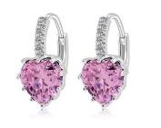 Charming Women's Sterling Silver Ear Hoop Earrings Ear Stud Pink