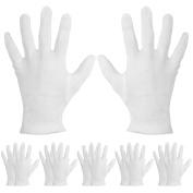 Mudder 6 Pairs Moisturising Gloves Cotton Cosmetic Moisturising Gloves Hand Spa Gloves Moisture Enhancing Gloves, White